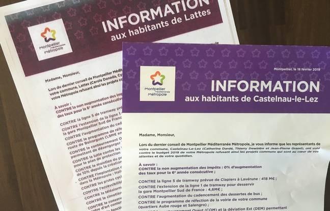 Des exemples de lettres reçues par les habitants de certaines communes de la métropole de Montpellier.