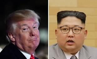 Illustration: Le président américain Donald Trump (G) et le leader nord-coréen, Kim Jong-un (D).
