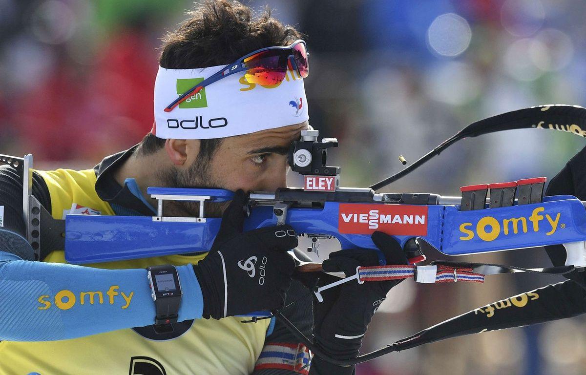 Martin Fourcade lors de la poursuite le 12 février 2017. – Kerstin Joensson/AP/SIPA