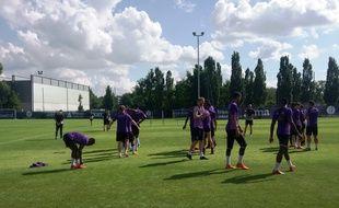 Les joueurs du TFC à l'entraînement, le 22 mai 2018.