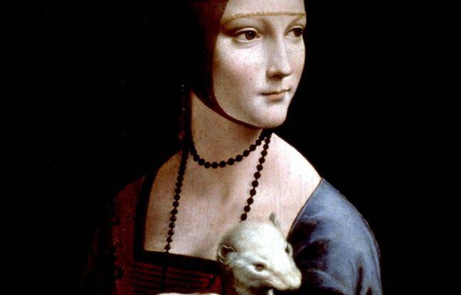 Détail de «La Dame à l'hermine», œuvre de Leonard de Vinci.
