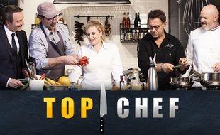 Stéphane Rotenberg et les membres du jury de la douzième saison de « Top Chef »