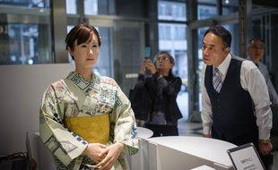 ChihiraAico, première hôtesse androïde, à Tokyo, en avril 2015.