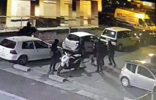 Capture d'écran de la vidéo d'un lynchage survenu dans le quartier de Villejean, à Rennes, publiée par un syndicat policier sur son compte Twitter.