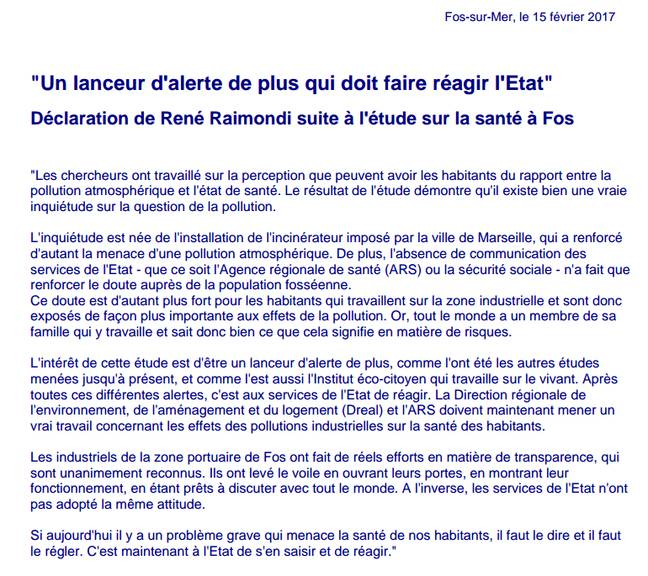 La déclaration du marie de Fos-sur-Mer après la publication de l'étude.