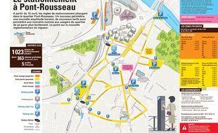 Le nouveau périmètre de stationnement payant dans le quartier Pont-Rousseau-8 Mai.