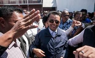 L'ancien chef d'Etat Marc Ravalomanana, est accueilli par ses partisans à Antananarivo le 13 octobre 2014