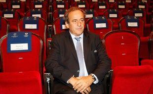 Michel Platini au tirage au sort de la Ligue Europa le 28 août 2015.