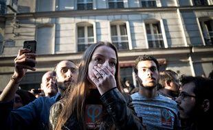 À la soirée électorale de la France insoumise, derrière Jean-Luc Mélenchon, le 23 avril 2017 à Paris.