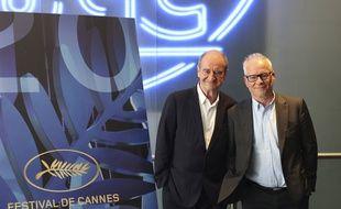 Thierry Frémaux (à dr.) et Pierre Lescure présentent la sélection officielle du Festival de Cannes, le 3 juin à l'UGC Normandie à Paris