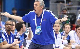 Claude Onesta visiblement pas très content, lors du Mondial de handball 2015 au Qatar.