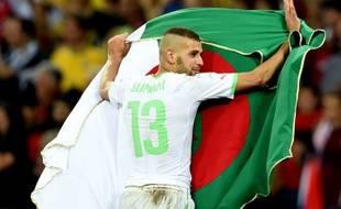 Le joueur de l'Algérie Islam Slimani, le 25 juin 2014, contre la Russie.