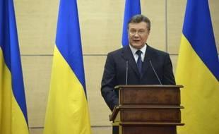 Le président ukrainien chassé du pouvoir Viktor Ianoukovitch donne une conférence de presse à Rostov, en Russie, le 11 mars 2014