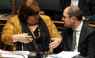 La secrétaire d'Etat belge à la Politique d'asile, la migration et l'intégration sociale, Maggie de Block, le 8 décembre 2011 à Bruxelles (Belgique).