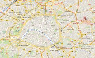 Capture d'écran d'une Google map de Villemomble, en Seine-Saint-Denis.
