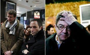 Yannick Jadot et Benoît Hamon à Paris, jean-Luc Mélenchon à Pierrefitte-en-Beauvaisis, le 27 février 2017.