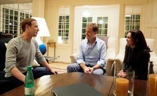 L'ancien vice-Premier ministre britannique Nick Clegg, ici avec Mark Zuckerberg et Sheryl Sandberg, a rejoint Facebook le 19 octobre 2018.