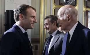 Emmanuel Macron et Valéry Giscard d'Estaing, illustration.