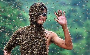 L'apiculteur chinois Lu Kongjiang se laisse recouvrir par 26kg d'abeilles lors d'un concours, le 17 juillet 2011.