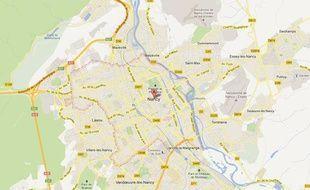 Google Map de Nancy (Meurthe-et-Moselle).