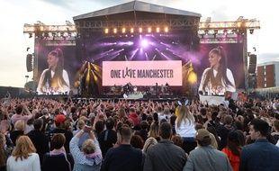 Ariana Grande en concert à Manchester, le 4 juin 2017.