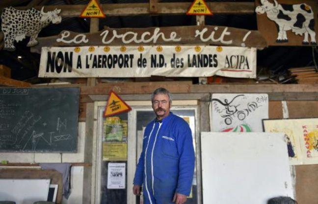 Sylvain Fresneau, membre de l'une des familles menacées d'expulsion par le projet de construction de l'aéroport Notre-Dame-des-Landes, le 12 février 2016