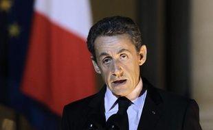 Nicolas Sarkozy, le 1er novembre 2011 à l'Elysée, à l'issue d'une réunion sur la crise grecque.