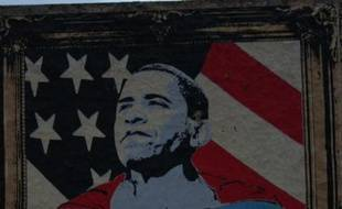 Tag de Barack Obama représenté en superman à Brooklyn