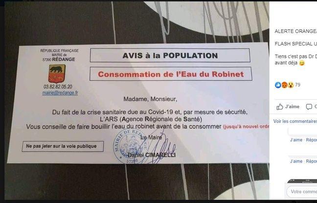 Le message de la mairie de Rédange qui a semé l'inquiétude.