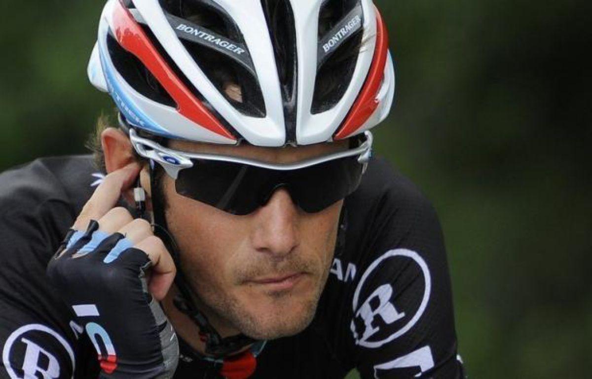 """Le Luxembourgeois Frank Schleck, troisième l'an passé, a quitté le Tour de France, mardi, suite à un contrôle antidopage positif à un diurétique que son équipe RadioShack a déclaré """"ne pas pouvoir expliquer – Lionel Bonaventure afp.com"""