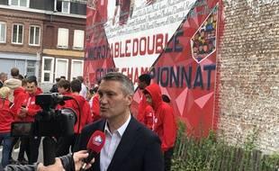 Olivier Létang était présent à l'inauguration d'une fresque sur le Losc à Fives