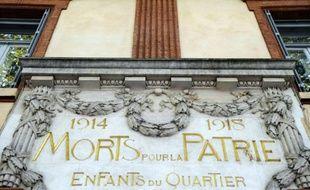 Vue, prise le 7 octobre 2008 à Toulouse, d'un monument aux morts de la guerre de 14-18
