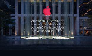Ce 1er décembre, les Apple Store ont revêtu ce matin leur habit rouge.