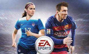 Alex Morgan et Lionel Messi sur la jaquette de Fifa 16.