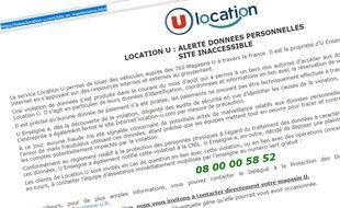 Capture d'écran du site location-u.com fermé à la suite d'un piratage, le 28 août 2018.