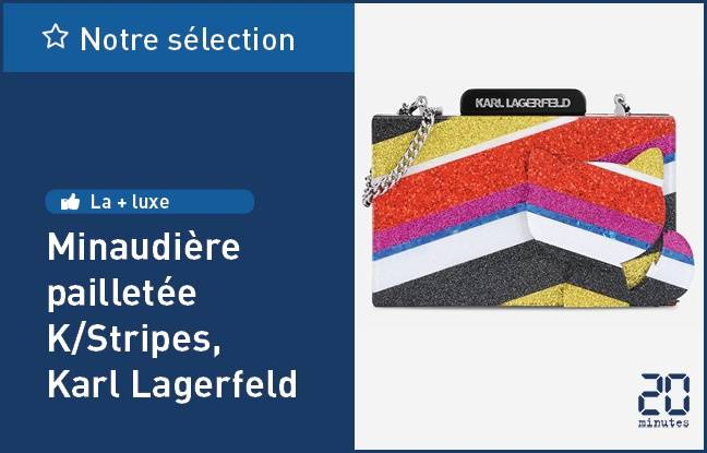Minaudière pailletée K/Stripes, de Karl Lagerfeld