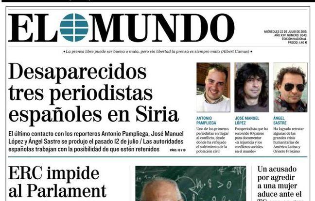 Syrie ce que l on sait de la disparition de trois journalistes espagnols - Nom de journal espagnol ...