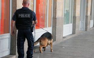 Illustration d'une patrouille de police en compagnie d'un chien anti-drogue à Rennes.