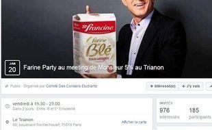 Page Facebook de l'événement Farine Party.