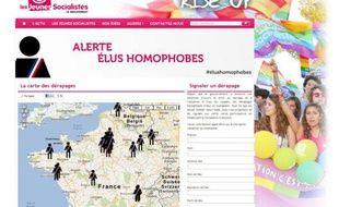 Capture d'écran du site des Jeunes socialistes le 17 janvier 2012