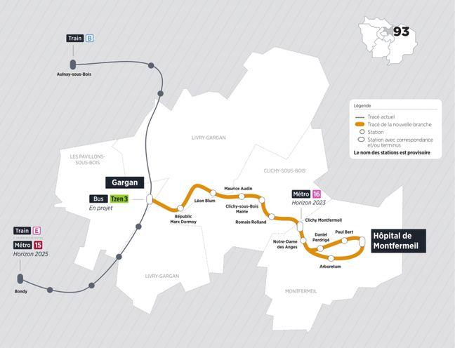 Le tracé de la ligne de tram 4 avec la future branche.