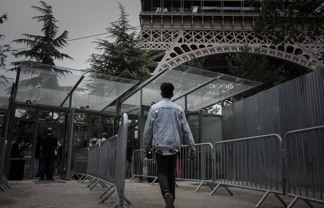 Paris, le 14 juin 2018. - Les accès à la tour Eiffel ont été sécurisés avec notamment des portiques.