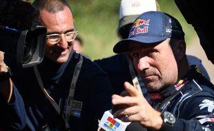 Stéphane Peterhansel à l'arrivée de la dernière étape du Dakar 2017.