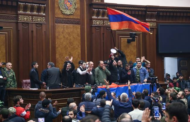 Protesters invade the National Assembly in Armenia on November 10, 2020.