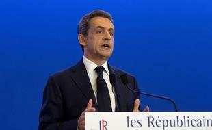 Nicolas Sarkozy, président du parti Les Républicains, le soir du premier tour des régionales au QG du parti, le 6 décembre 2015 à Paris.