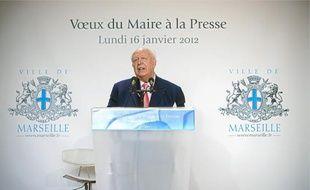 Le maire de Marseille, Jean-Claude Gaudin, hier lors de ses vœux à la presse.