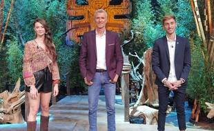 Alexandra, Denis Brogniart et Brice lors de la finale de « Koh-Lanta »