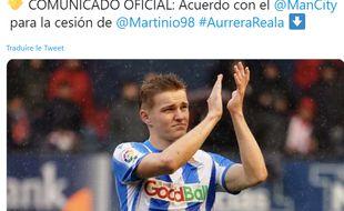 Le tweet de la Real Sociedad annonçant le prêt d'Odegaard à City.