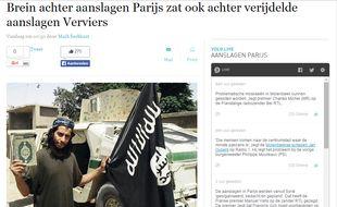 Capture d'écran du site du journal belge De Standaard. Cette photo de propagande d'Abdelhamid Abaaoud a été diffusée par Daesh.