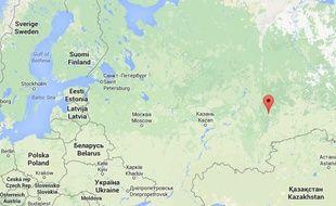 Google map d'Iekaterinbourg, en Russie.